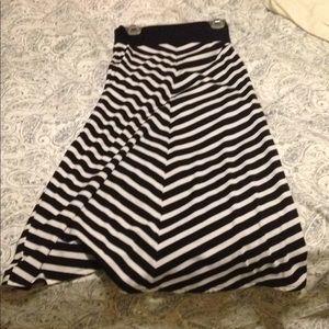Long Black & White Striped Skirt